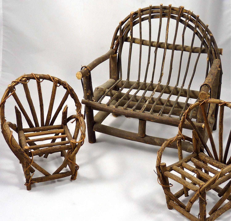 Three piece doll furniture adirondack style settee with - Adirondack style bedroom furniture ...