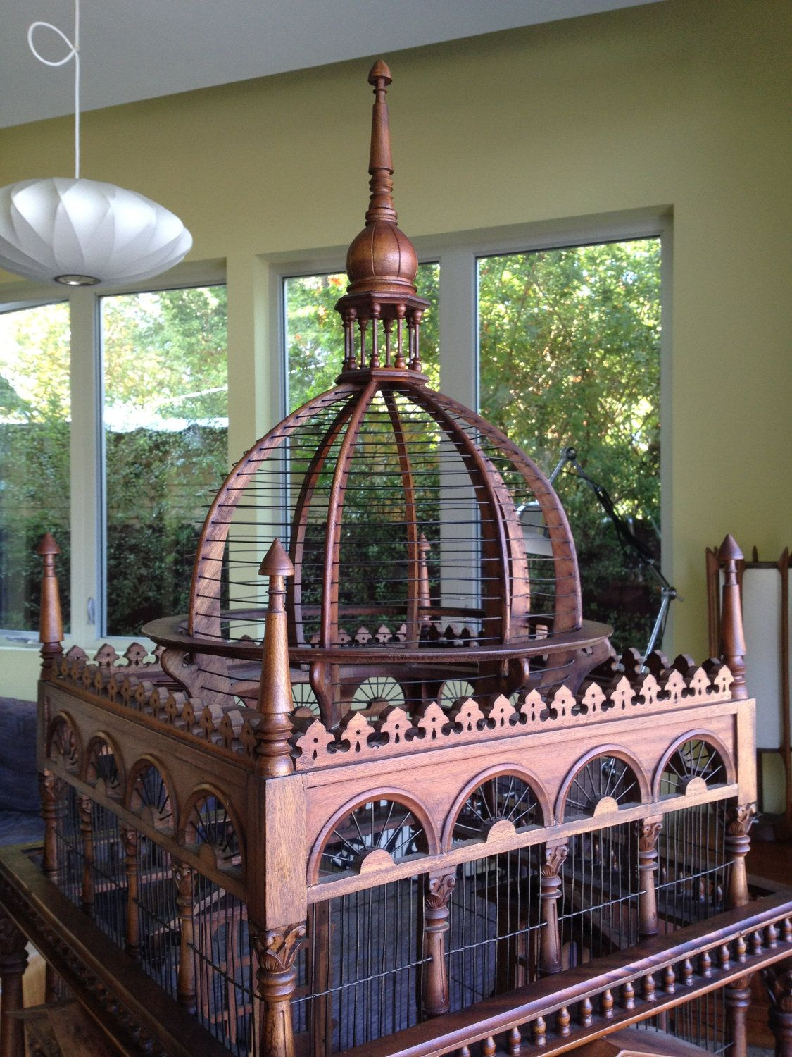 Huge Vintage Hand Carved Wooden Bird Cage  $850 00, via Etsy