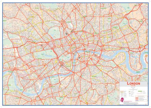 Central London Street Wall Map A huge enhanced map of Central London