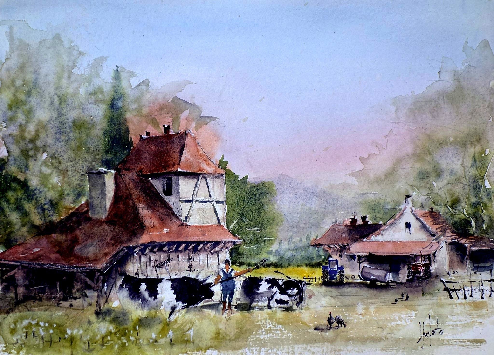 The Farmer Watercolor Artists Watercolor Lessons Gouache Tutorial