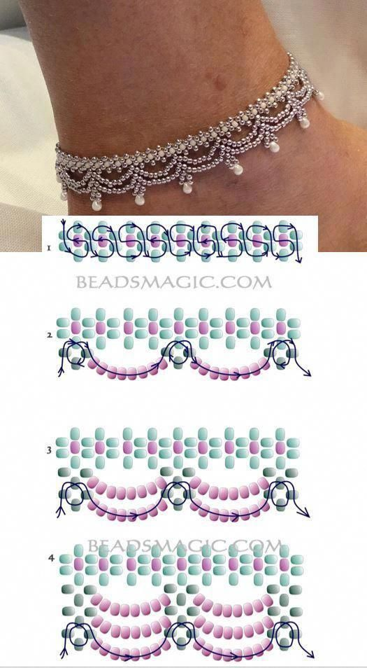 einfache Perlenkettenmuster #SeedBeadTutorials,  #einfache #makingjewelrynecklaces #Perlenket…