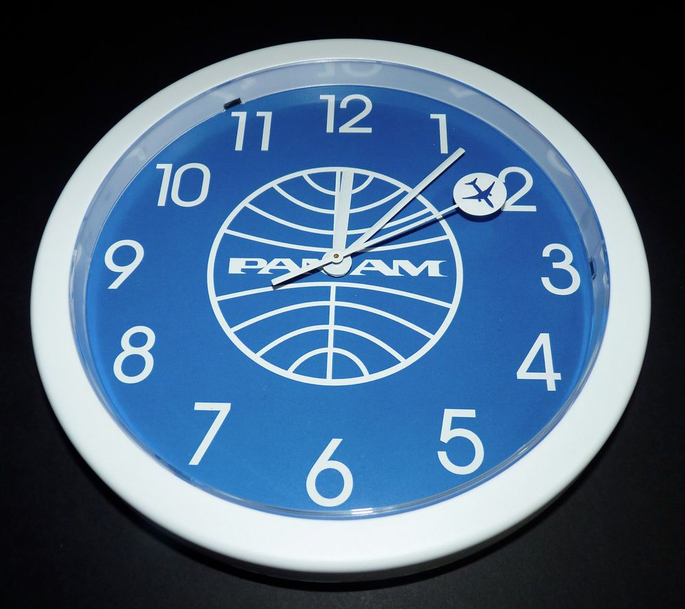 Vintage pan am airlines airplane time wall clock usa paa made in vintage pan am airlines airplane time wall clock usa paa made in usa amipublicfo Images