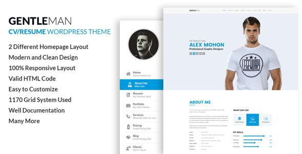 GentleMan- vCard \ CV Resume WordPress Theme Wordpress - wordpress resume theme