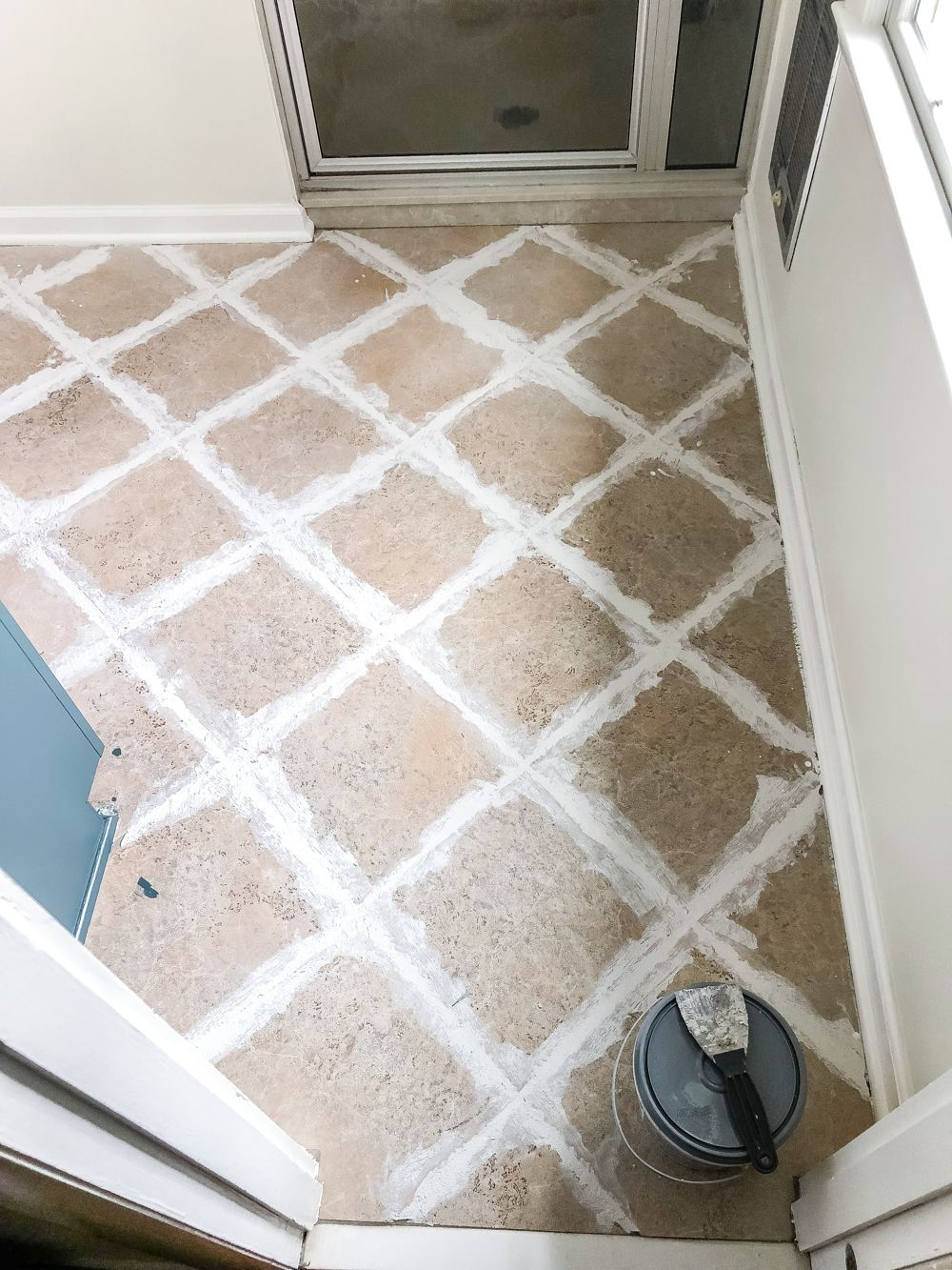 How To Install Sheet Vinyl Flooring Over Old Tile Fill Grout Lines Contemporarybathroomvinylflooring Vinyl Flooring Flooring Vinyl Flooring Bathroom