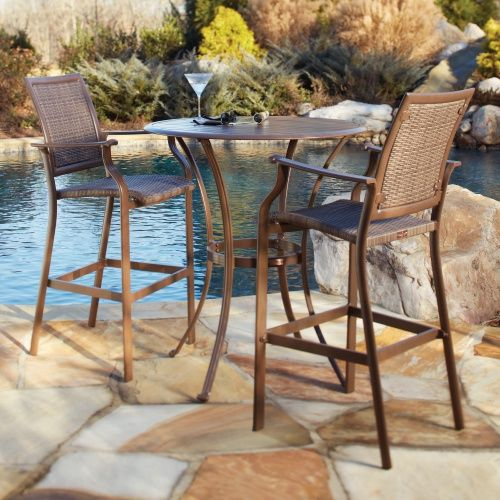 Panama Jack Island Cove Woven Slatted Bar Height Patio Pub Table Set    Outdoor Bistro Sets