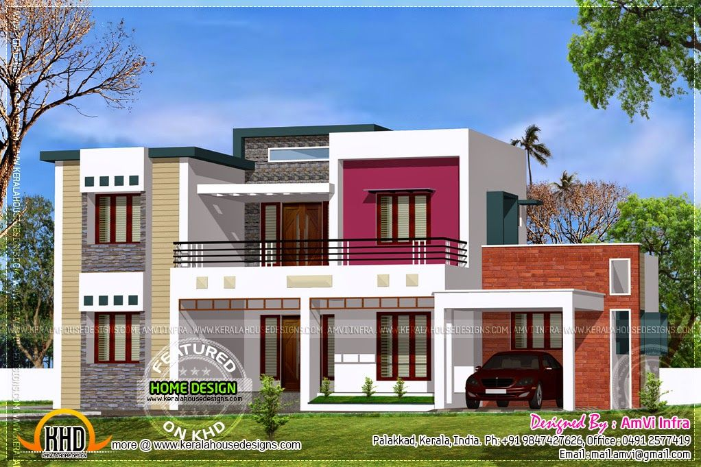 Home Contemporary Sq Feet Flat Roof Contemporary Home Design Home Kerala  Plans