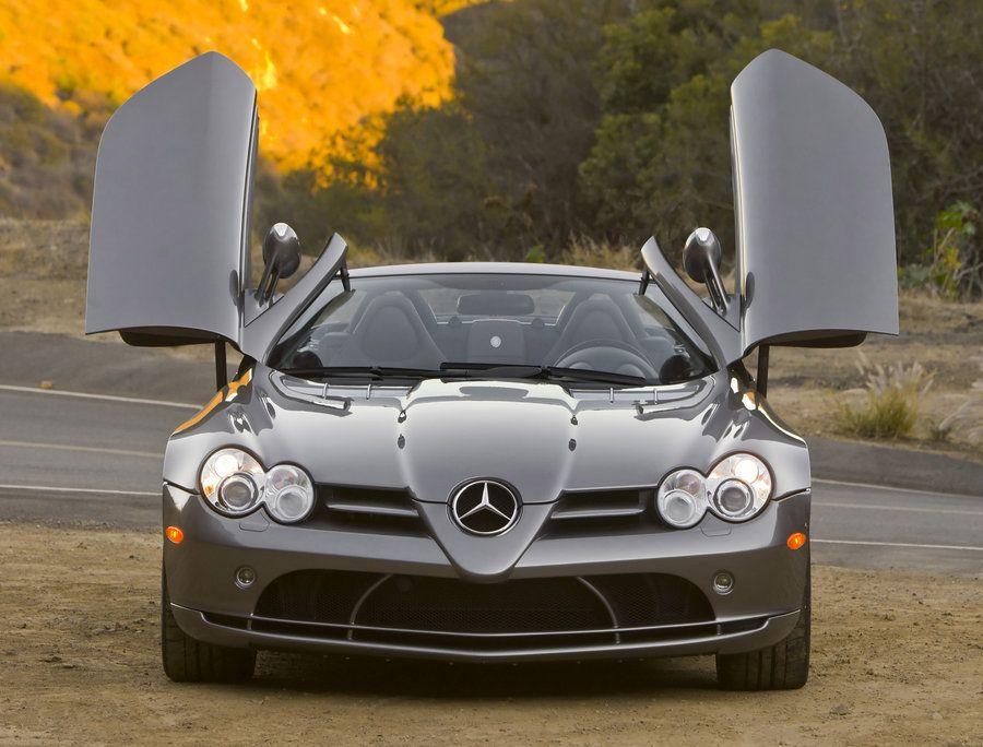 Mercedes Benz Slr Mclaren Roadster Front View Doors Open Slr Mclaren Mercedes Mercedes Benz