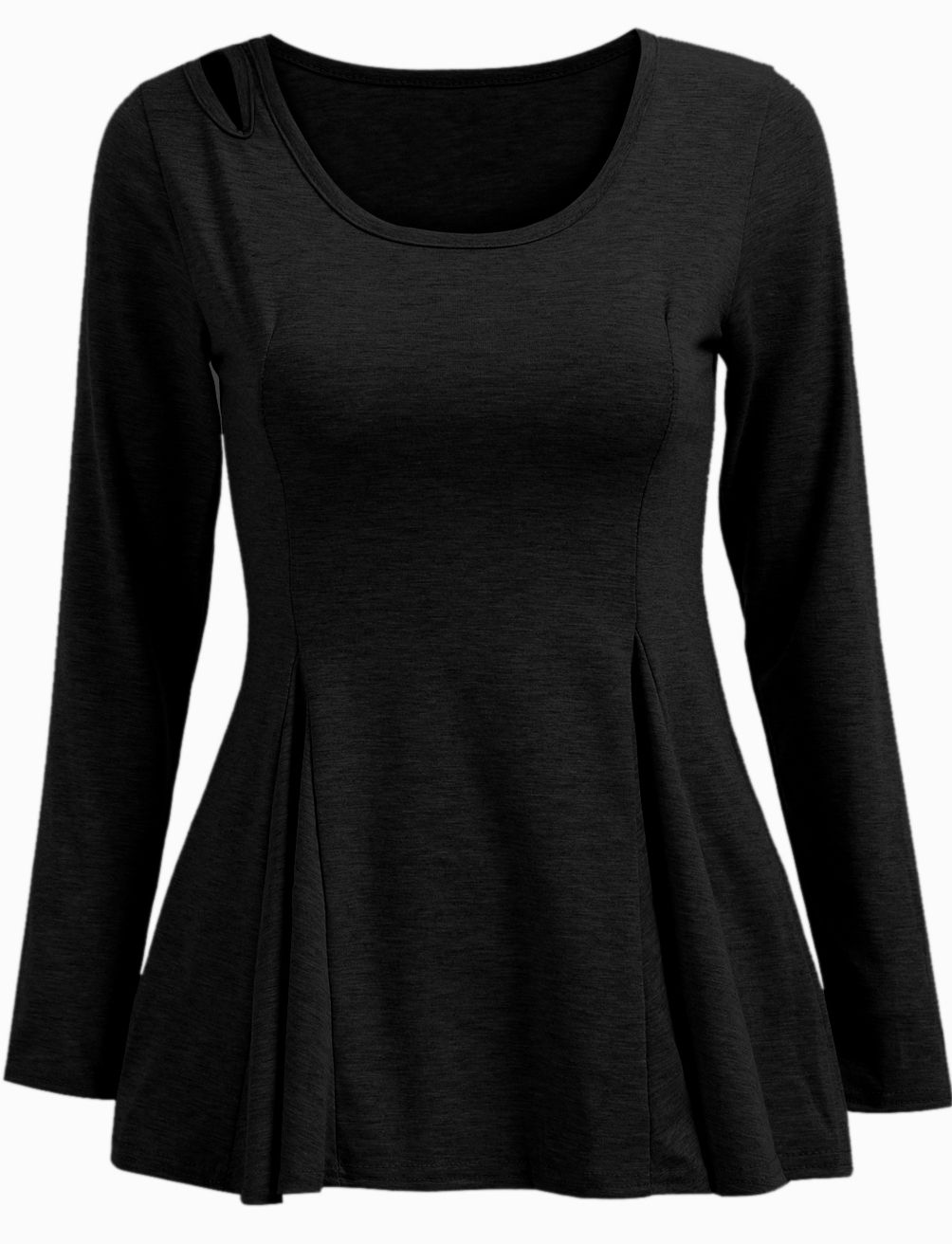 Black long sleeve hollow ruffle top clothes and other random crap