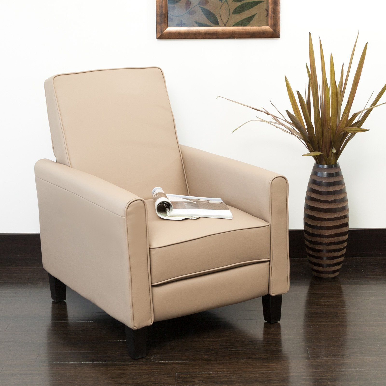 best living room chair%0A Best Selling Home Decor Furniture LLC Lana Camel PU Leather Recliner       Hayneedle