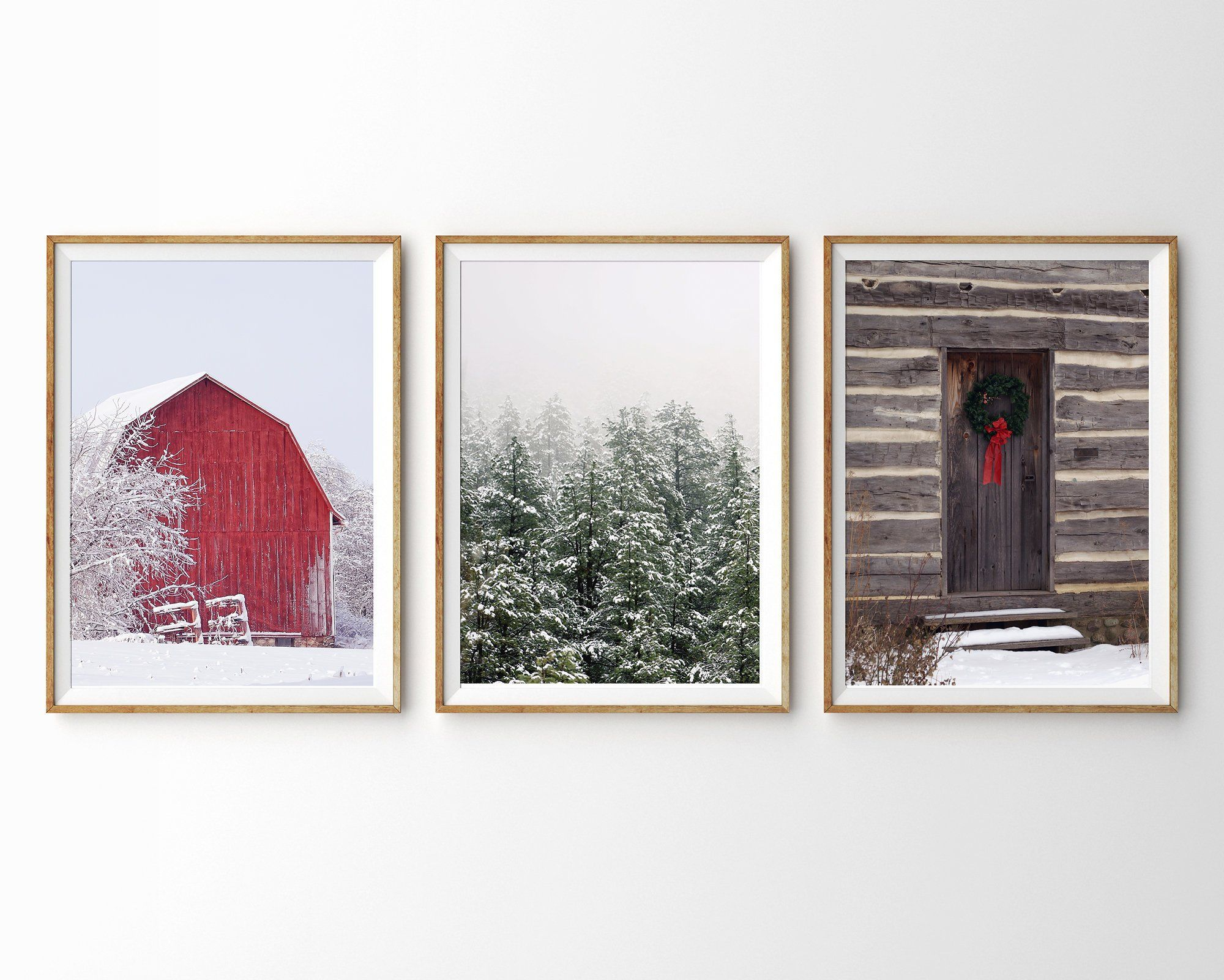 Winter Print Set Of 3 Prints Christmas Wall Art Red Barn Pine Etsy Winter Wall Art Christmas Wall Art Christmas Prints