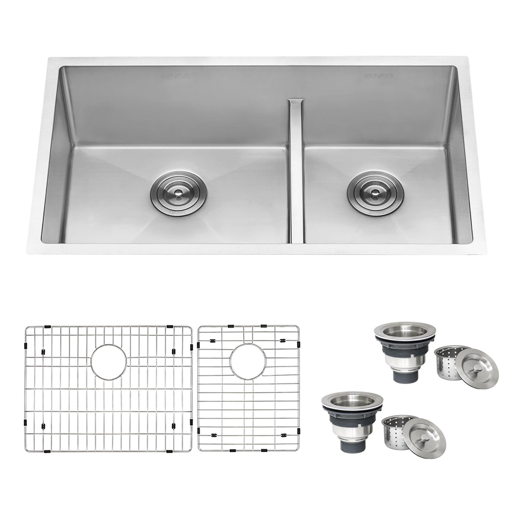 33 Inch Low Divide Undermount Tight Radius 60 40 Double Bowl 16 Gauge Stainless Steel Kitchen Sink Ruvati Usa Stainless Steel Kitchen Sink Double Bowl Sink Sink