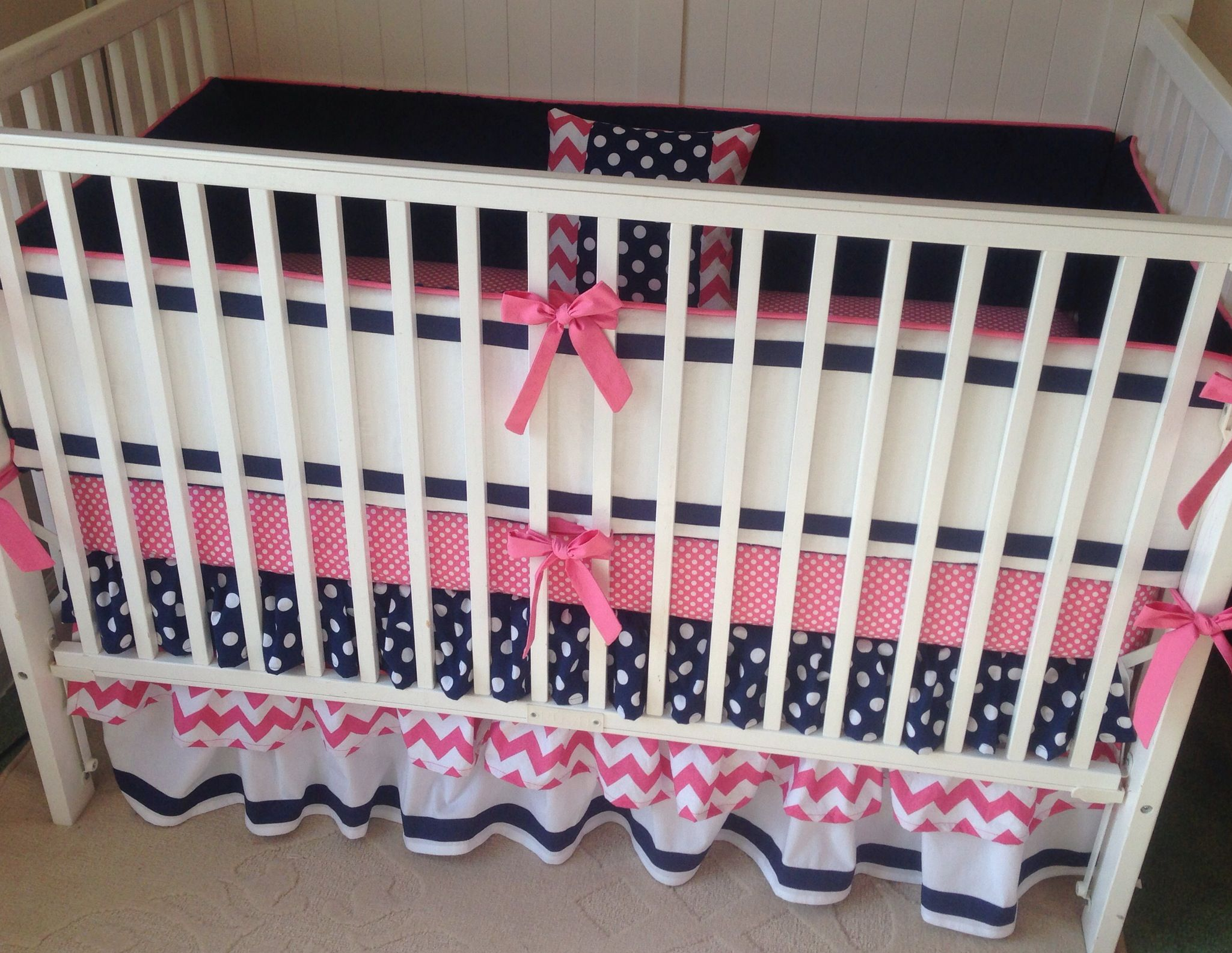 Preppy Pink And Navy Ruffled Crib Bedding So Sweet For A Nursery Www Erbeansboutique Etsy