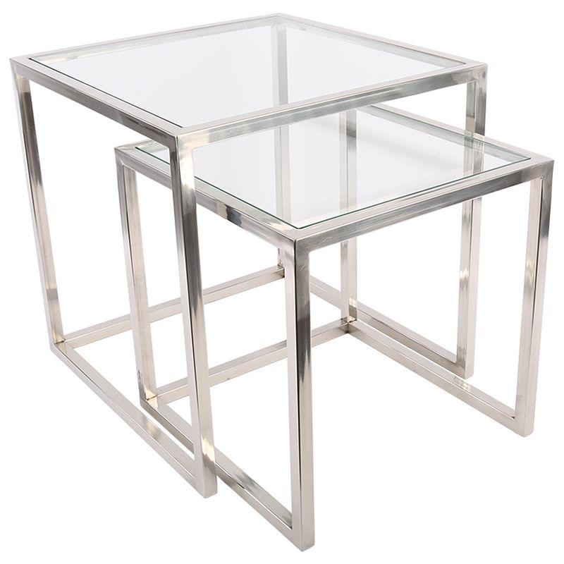 Beistelltisch 2er Set Verchromt Mit Glas Beistelltisch Glas Beistelltisch 2er Set Wohnzimmertische