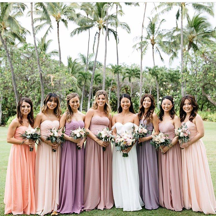 Perfect Mix And Match Sweetheart Bridesmaid Gowns To Go With The Tropical Wedding Mix Match Bridesmaids Dresses Sweetheart Bridesmaids Dresses Bridesmaid Gown