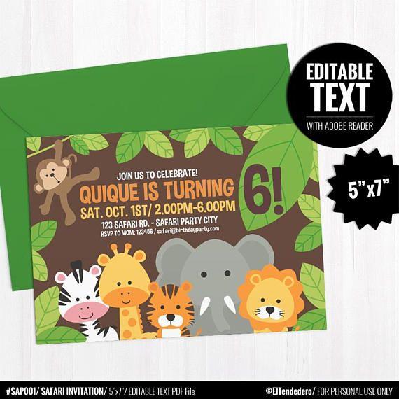 Self Editable Safari Birthday Invitation Template Printable Jungle Theme Invite Neutral Kids Party First Birthday Instant Download Safari Baby Shower Invitations Safari Birthday Gender Neutral Baby Shower Card