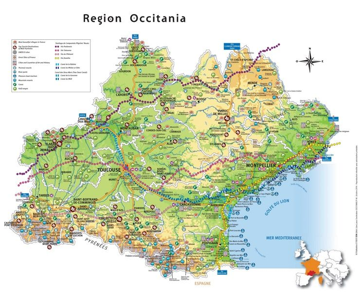 Occitanie tourist map Maps Pinterest Tourist map and France