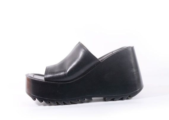 ba95d9c9e4 90s vintage black leather chunky platform shoes. Super tall heel and  platform sole. Rugged tread. Thick genuine leather wide top toe strap.