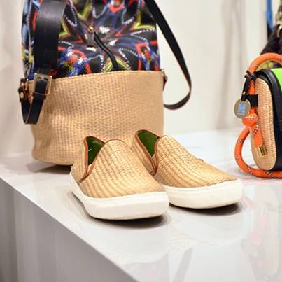 #MMissoni Accessories | #Crypto print and #natural #raffia effect slip on | Summer 2014 Collection