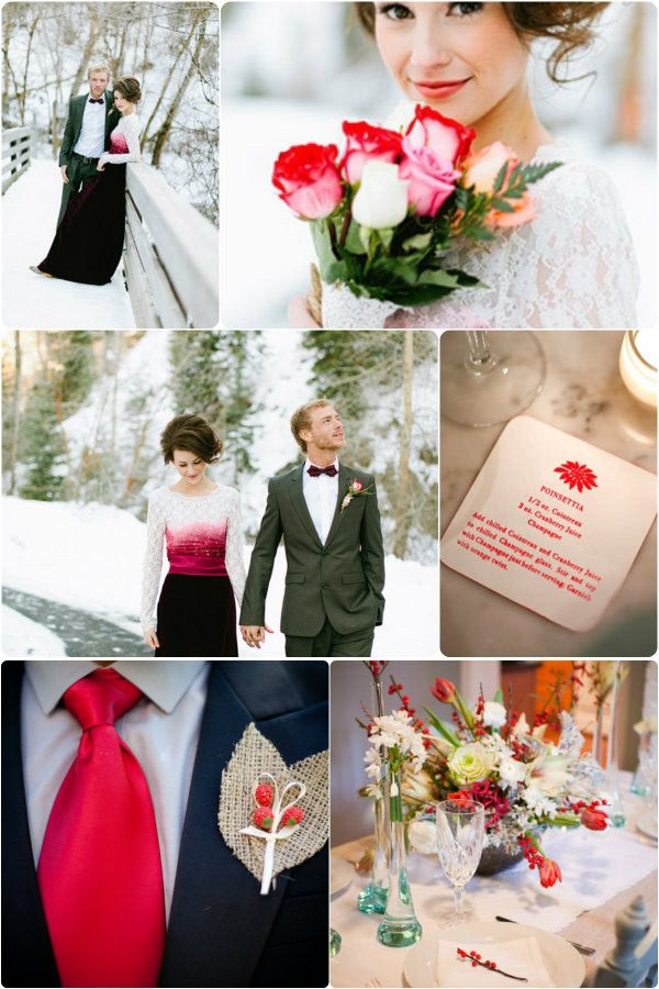 Weiße Torte, rote Beeren ... <3  Top Red Winter Wedding Ideal 2013/ Rot Hochzeitsdekoration 2013 Winter!