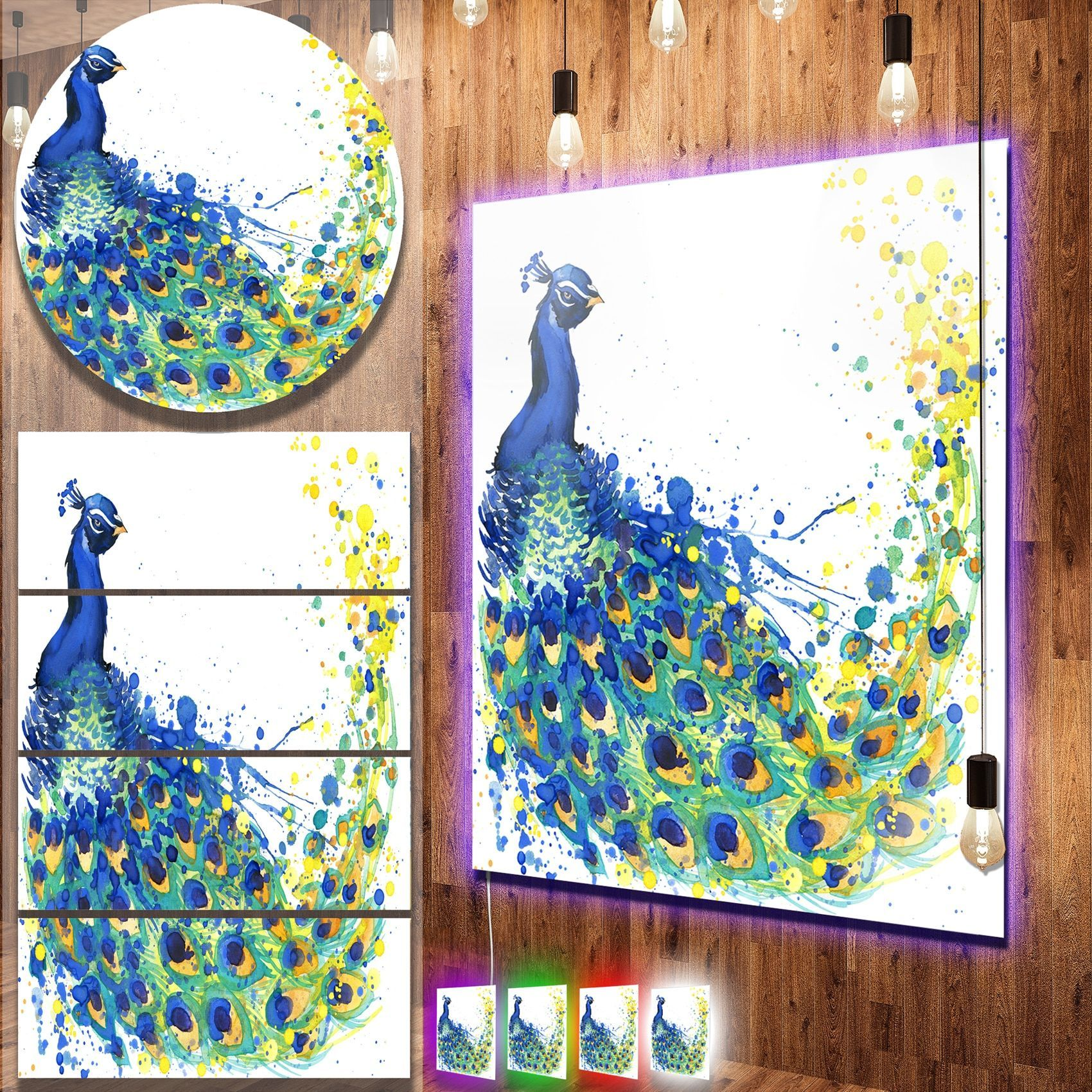 Designart uexotic peacock watercoloru contemporary animal art metal