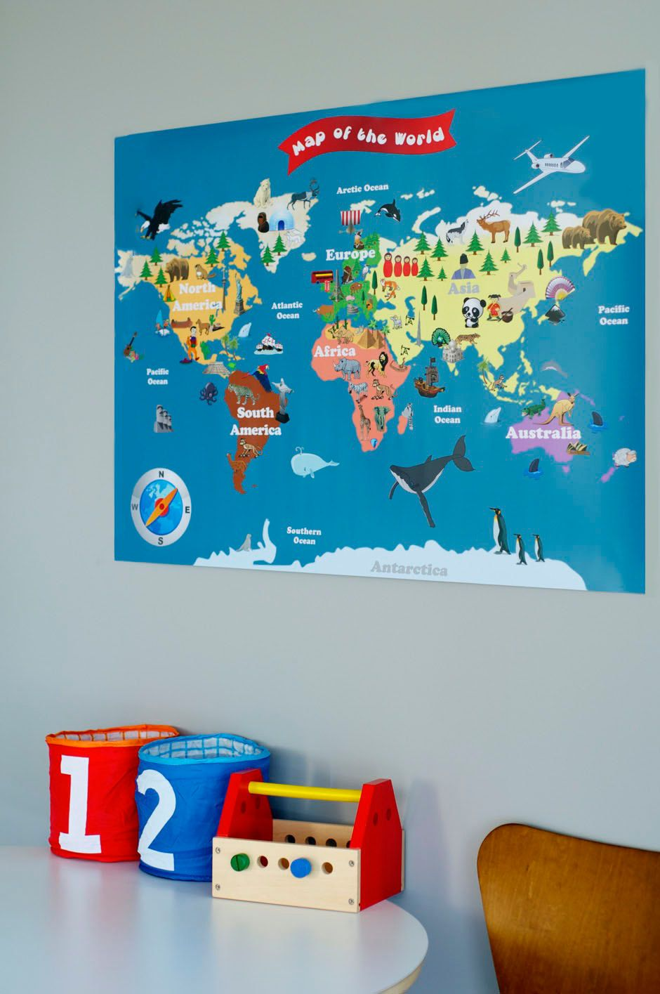 personalized laminated world map for kids let s on laminated wall maps id=43459