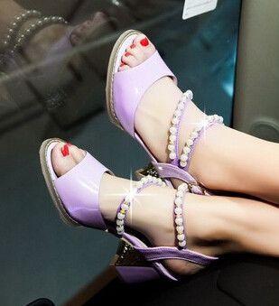 7048dc03a8b3f 2015 women new fashion spring summer elegant sandals shining pearl fish  head rough Roman buckle shoes large plus size 40-43