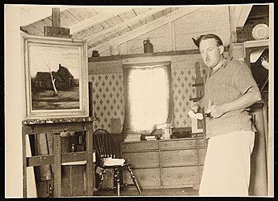 Elliott Orr artist in Waquoit. 1940.