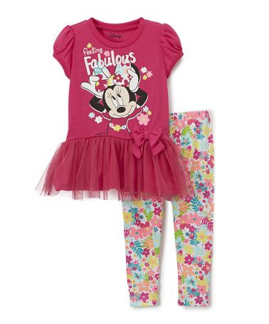 Another great find on #zulily! Pink Minnie 'Fabulous' Tee & Leggings - Toddler #zulilyfinds