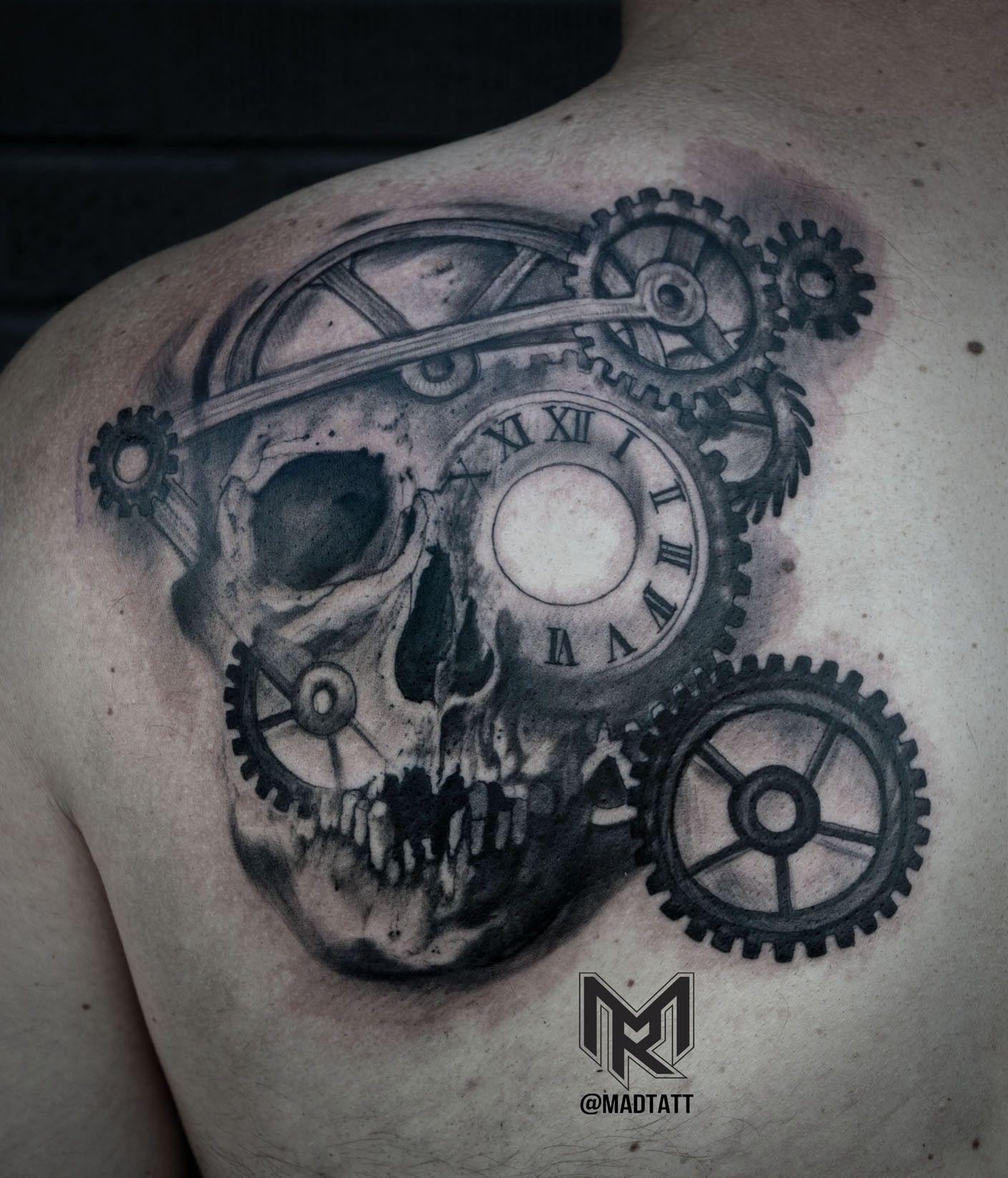 Clock Gears And Skull Morph Tattoos Gear Tattoo