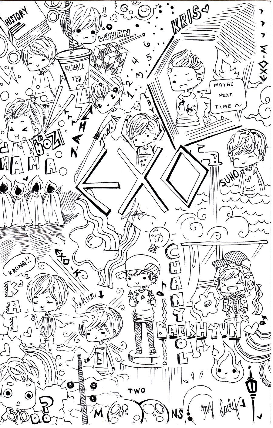 Pin Oleh Pia Di Kpop Exo Cara Menggambar Buku Mewarnai Dan