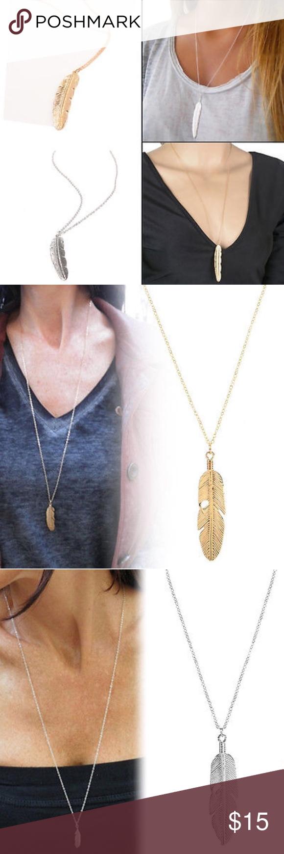 Coming Soon!  Long Leaf Pendant Necklace Material: Alloy Feather length: 6cm, width :1.5cm Chain length: 60cm+7cm True Gem Boutique Jewelry Necklaces