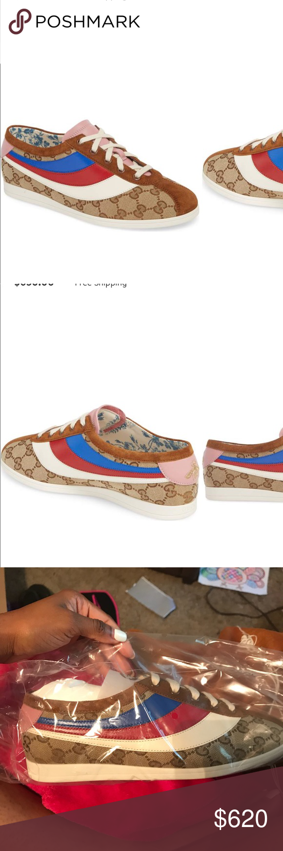 03589f093 GUCCI Falacer Lace-Up Sneaker Original GG canvas gleams on sneakers  featuring a tricolor leather