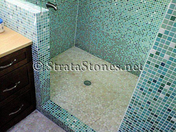 mosaic shower floor tile. Shower Mosaic Tile   Pan Main Gallery Next Image Tan Pebble Floor