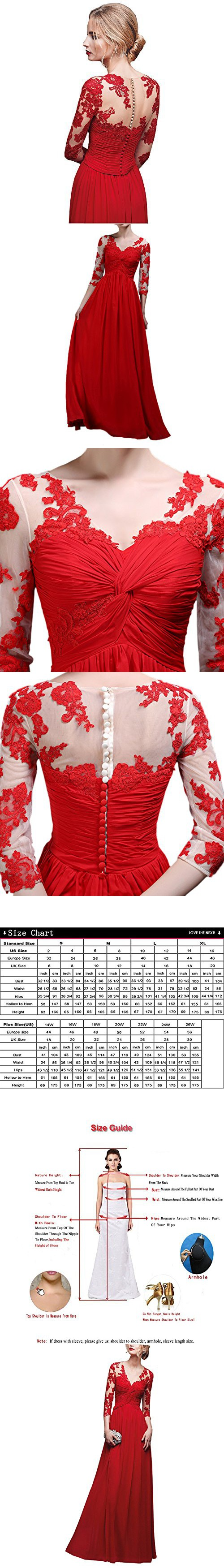 Abaowedding long lace deep v long sleeve evening dress red and ivory