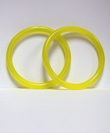 This Yellow Chewable Bracelet - Set of Two is perfect! #zulilyfinds
