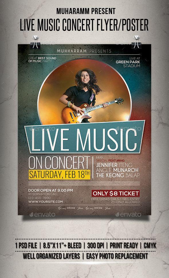 Live Music Concert Flyer  Poster  Concert Flyer Event Flyers
