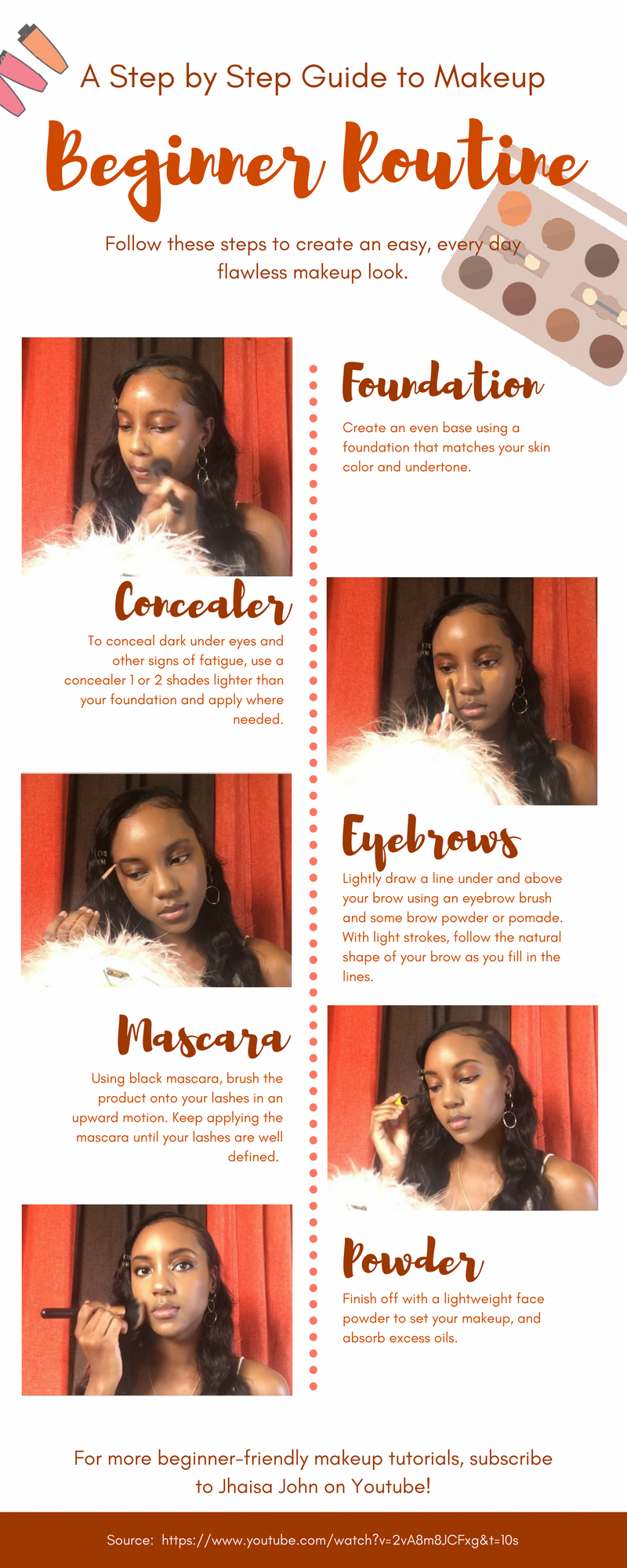 Easy step by step makeup tutorial for beginners / black women. Basic every day makeup. Watch the full tutorial on Youtube. #BeginnerMakeupForTeens # ...