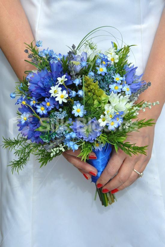 Stunning Blue Wildflower Bridesmaid Bouquet with Cornflowers