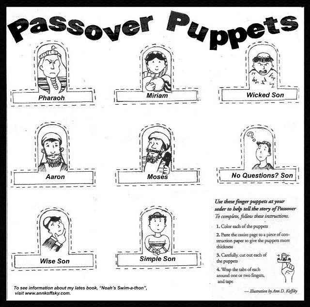 Passover Finger Puppets, Finger Puppets, Passover Coloring Pages ...
