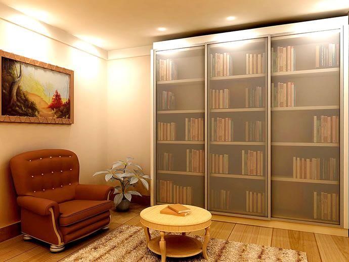 Estante arm rio escrit rio para livros com portas de - Estantes para armarios empotrados ...