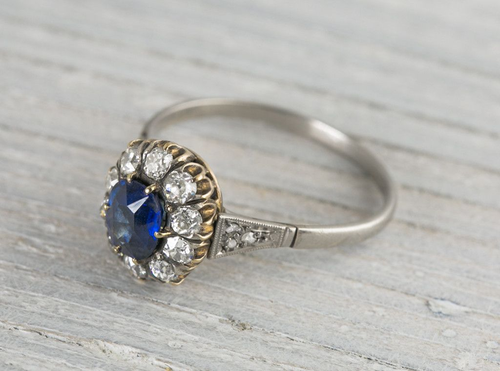 birthday media one carat ring blue engagement september sapphire genuine antique halo gold diamond