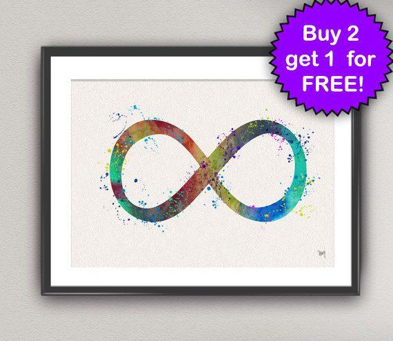 Infinite Symbol Art Watercolor Print Symbol Painting Cosmic Art