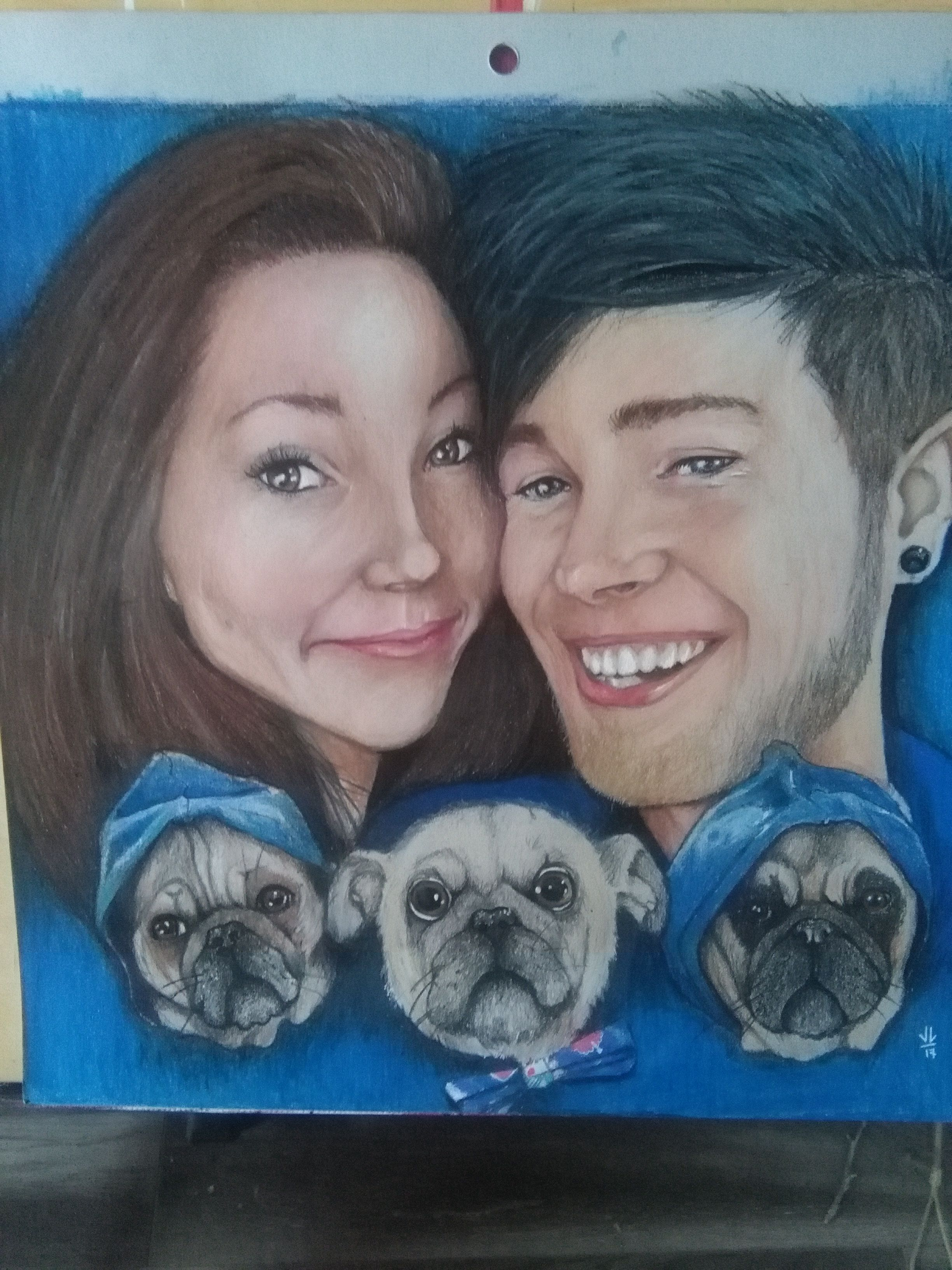 Youtuber Dantdm His Wife Jemma And Their Pugs Including Peggy