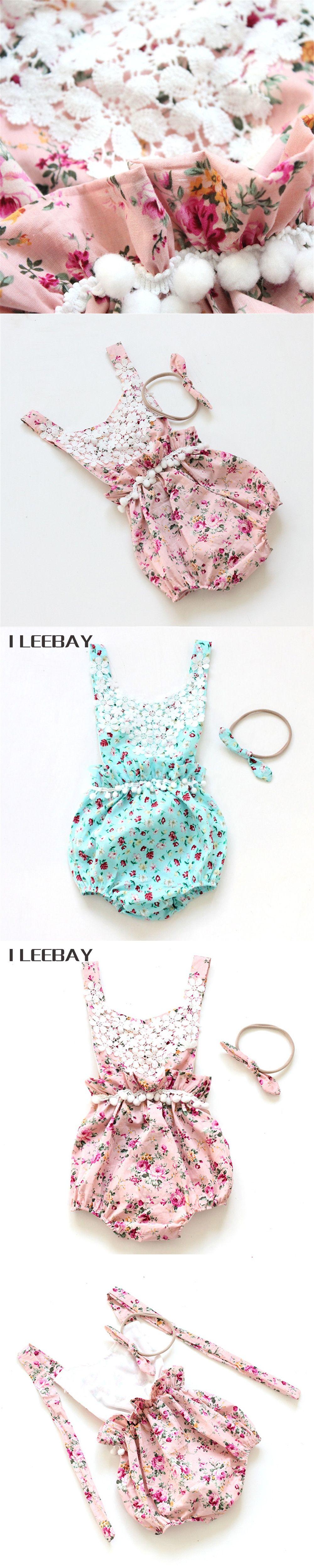 Toddler Girl Floral Rompers Headband Belt Cute Summer Ruffle Flower