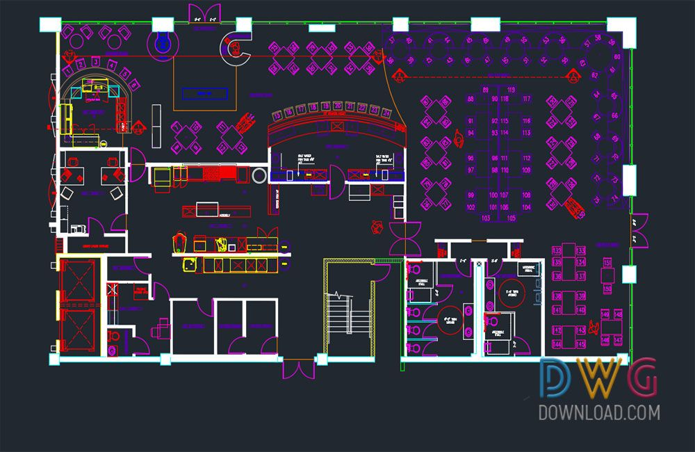 Dwg download restaurant architectural detail project