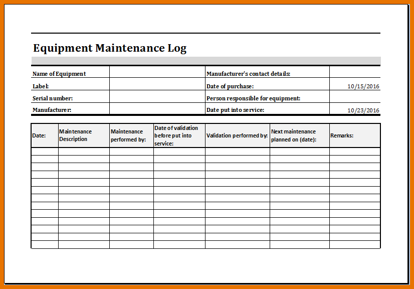 Equipment Maintenance Log Template Excel | Maintenance ...
