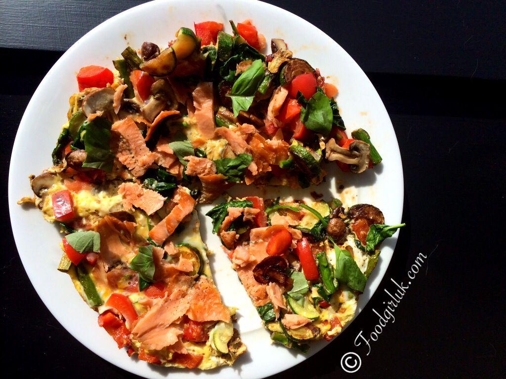 Breakfast pizza! 2 eggs whole, 2 egg whites, smoked salmon