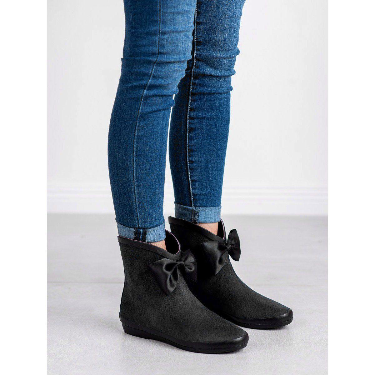 Kalosze Damskie Kylie Kylie Czarne Zamszowe Kalosze Z Kokardka Ladies Wellies Womens Wellies Boots