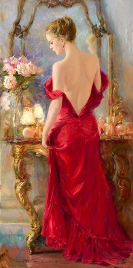 ⊰ Posing with Posies ⊱ paintings of women and flowers - Constantine Lvovich | A Beautiful Evening