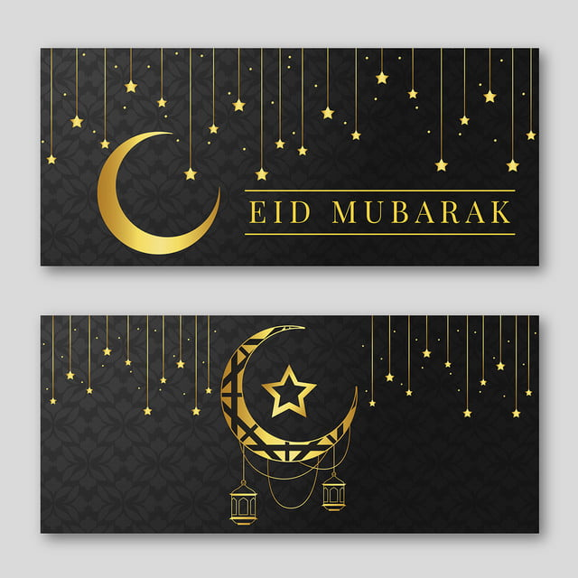 Grey And Golden Eid Mubarak Banner Template With Moon Eid Mubarak Banner Banner Template Eid Mubarak